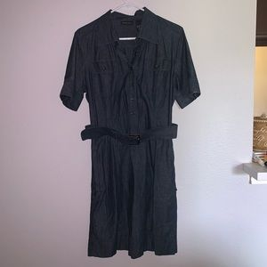New York and Company Jean dress with pockets/ belt